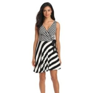 JULIAN TAYLOR b&w striped wrap dress